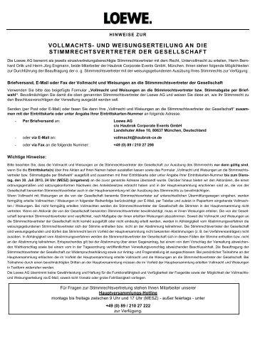 Vollmacht und Weisungen - Loewe AG > Aktuell