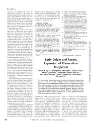 Early Origin and Recent Expansion of Plasmodium falciparum