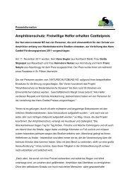 Amphibienschutz: Freiwillige Helfer erhalten Czettelpreis