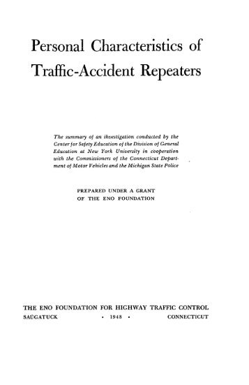 Personal Characteristics of Traffic-Accident Repeaters - National ...