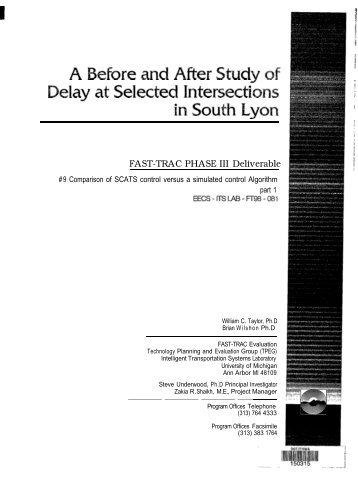 A Before and After Study of Delay at Selected Intersections in South ...