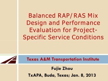 TxDOT Reserch Project 0-6092 Performance Evaluation and Mix ...