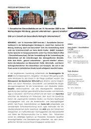 PRESSEINFORMATION 1. Europäisches Gesundheitsforum am 14 ...