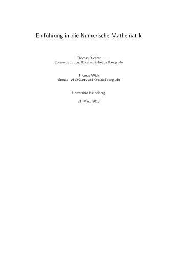 Einführung in die Numerische Mathematik - Lehrstuhl Numerische ...