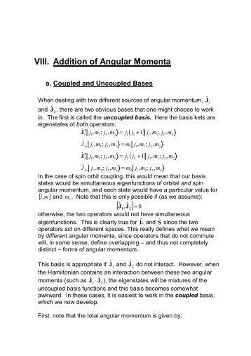 VIII. Addition of Angular Momenta