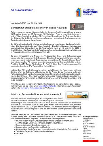 DFV-Newsletter 7/2013 - Deutscher Feuerwehrverband