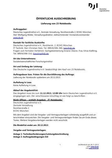 ÖFFENTLICHE AUSSCHREIBUNG - Deutsches Jugendinstitut e.V.