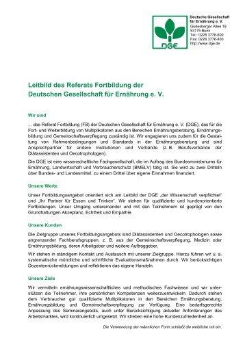 Leitbild des Referats Fortbildung der Deutschen Gesellschaft ... - DGE