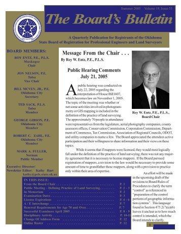 The Board' The Board's Bulletin s Bulletin - State of Oklahoma