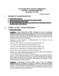 OKLAHOMA REAL ESTATE COMMISSION AGENDA - State of ...