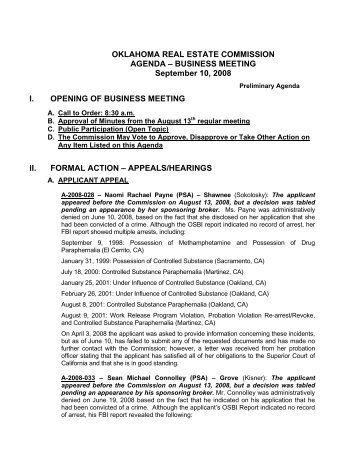 Oklahoma Real Estate Commission - State Legal Forms