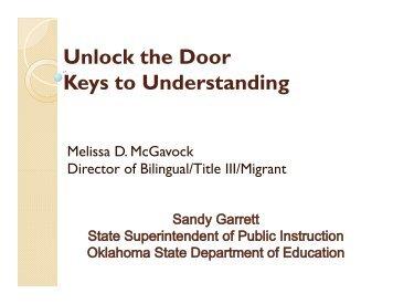 Unlock the Door Keys to Understanding - State of Oklahoma