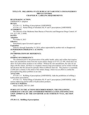 Emergency Rule Document - State of Oklahoma