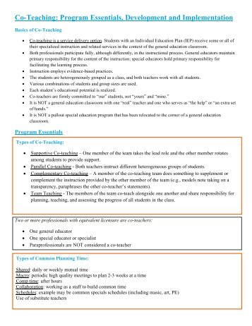 Co-Teaching: Program Essentials, Development and Implementation