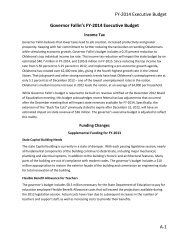 Governor Fallin's FY-2014 Executive Budget - State of Oklahoma ...