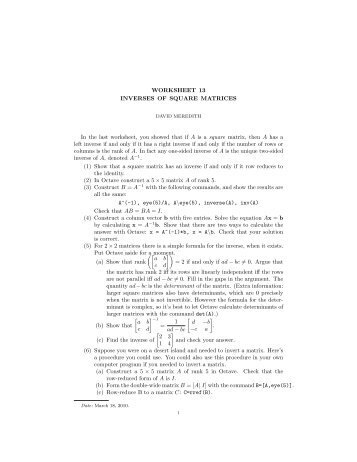 Inverse Matrices Worksheet | ABITLIKETHIS