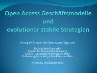 Evolutionär stabile Strategien und Open Access