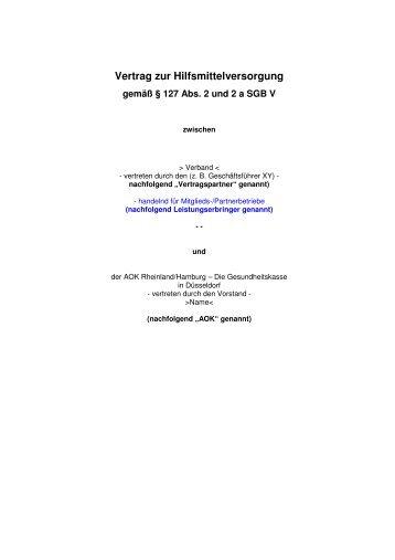 Vertrag zur Hilfsmittelversorgung - AOK-Gesundheitspartner