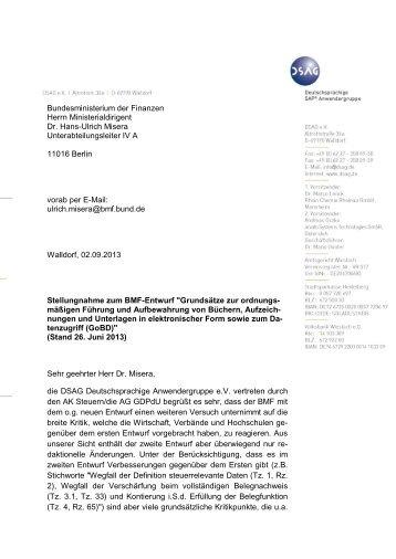 Schreiben vom 2. September 2013 - DSAG