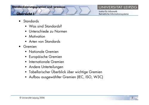 Standardisierungsgremien und -prozesse - OrViA - Universität Leipzig