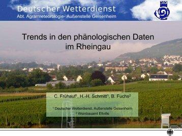 Trends in den phänologischen Daten im Rheingau - FDW