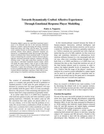 Towards Dynamically Crafted Affective Experiences Through ...