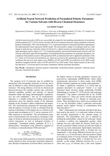 Artificial Neural Network Prediction of Normalized Polarity ...