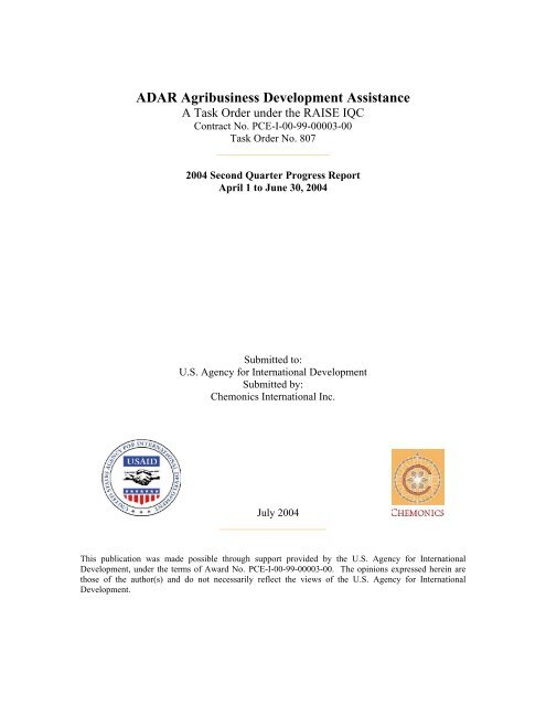 ADAR Agribusiness Development Assistance
