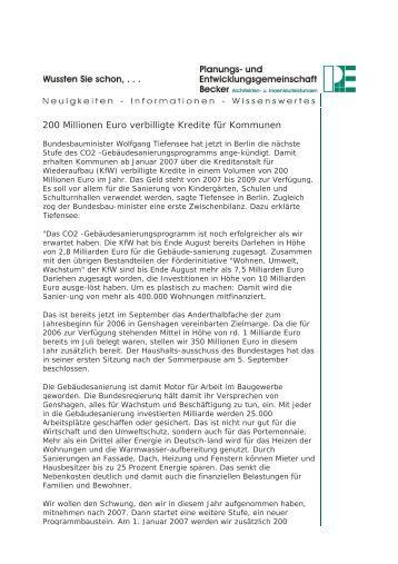 200 Millionen Euro verbilligte Kredite für Kommunen