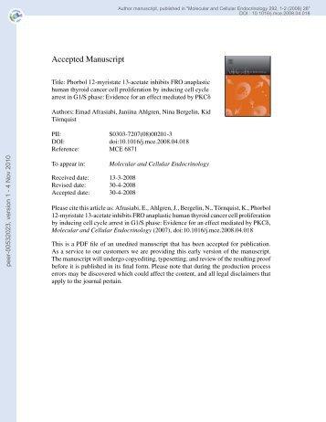 Phorbol 12-myristate 13-acetate inhibits FRO anaplastic human ...