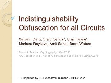 Indistinguishability Obfuscation and Applications - People