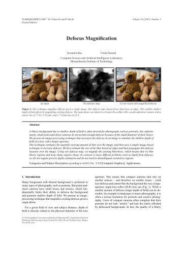Defocus Magnification - CSAIL People - MIT