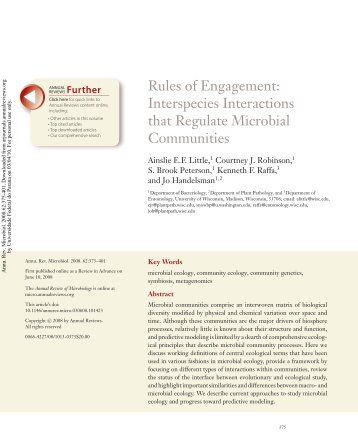 Rules of Engagement: Interspecies Interactions that ... - people