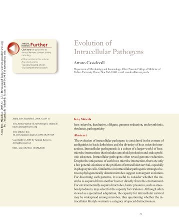 Evolution of Intracellular Pathogens - people