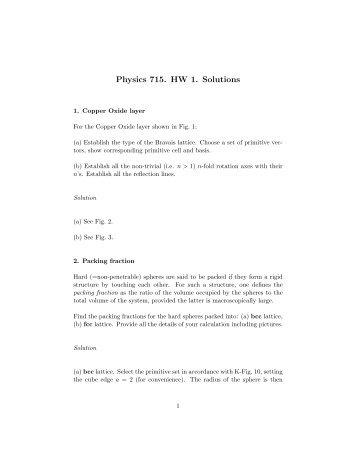 Physics 715. HW 1. Solutions