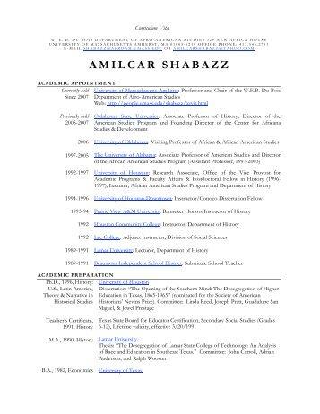 Amilcar Shabazz CV - Web Hosting at UMass Amherst - University of ...
