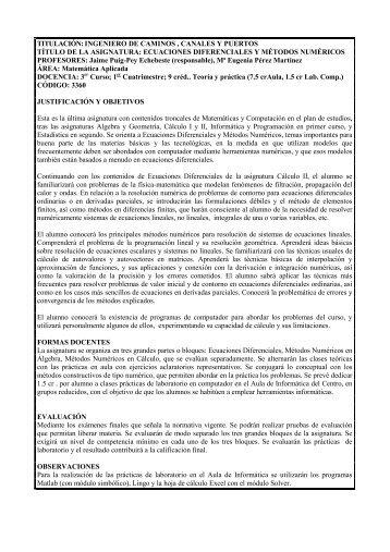 TITULACIÓN: INGENIERO DE CAMINOS , CANALES Y PUERTOS ...