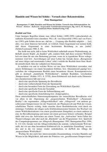 Baumgartner_2000_Handeln und Wissen bei Schuetz - Peter ...