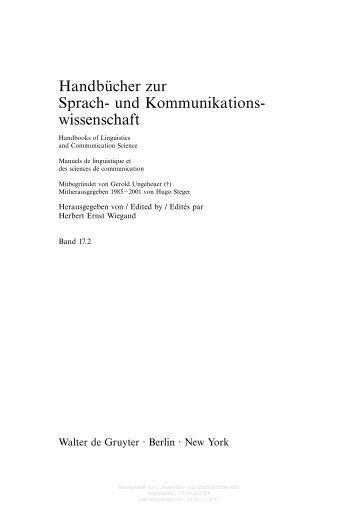 Handbücher zur Sprach- und Kommunikations- wissenschaft