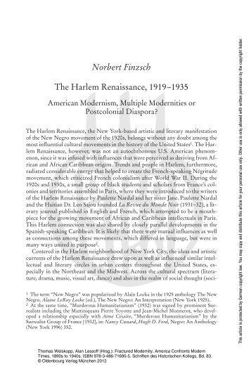 Norbert Finzsch The Harlem Renaissance, 1919–1935