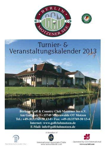 Turnier- & Veranstaltungskalender 2013 - Golfclub Motzen