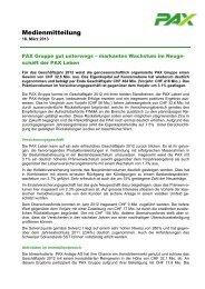 Medienmitteilung - Pax Schweizerische Lebensversicherungs ...