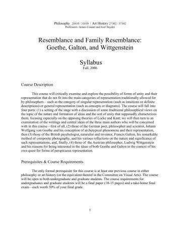 Resemblance and Family Resemblance: Goethe, Galton, and ...