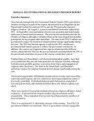 SOMALIA 2012 INTERNATIONAL RELIGIOUS FREEDOM REPORT