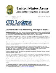 CID Warns of Social Networking, Dating Site Scams