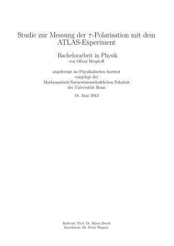 Studie zur Messung der τ-Polarisation mit dem ATLAS-Experiment