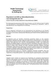 Health Technology Assessment im Auftrag des - DIMDI