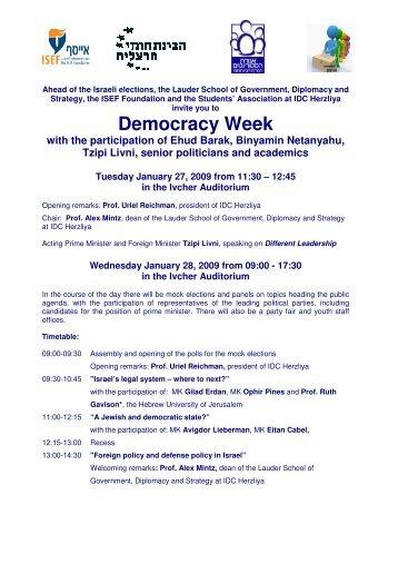 Democracy Week with the participation of Ehud Barak, Binyamin ...