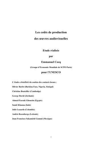 Les coûts de production des œuvres audiovisuelles Etude ... - Unesco