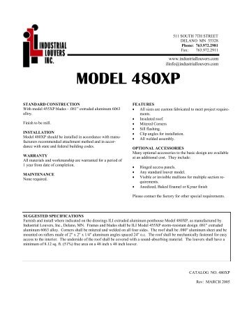 Model 480XP Submittal